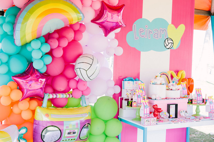 Girly Balloon Installation from a Modern Colorful 10th Birthday Party on Kara's Party Ideas | KarasPartyIdeas.com (14)