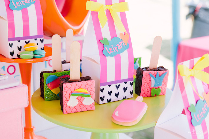 Brownie Pops from a Modern Colorful 10th Birthday Party on Kara's Party Ideas | KarasPartyIdeas.com (13)