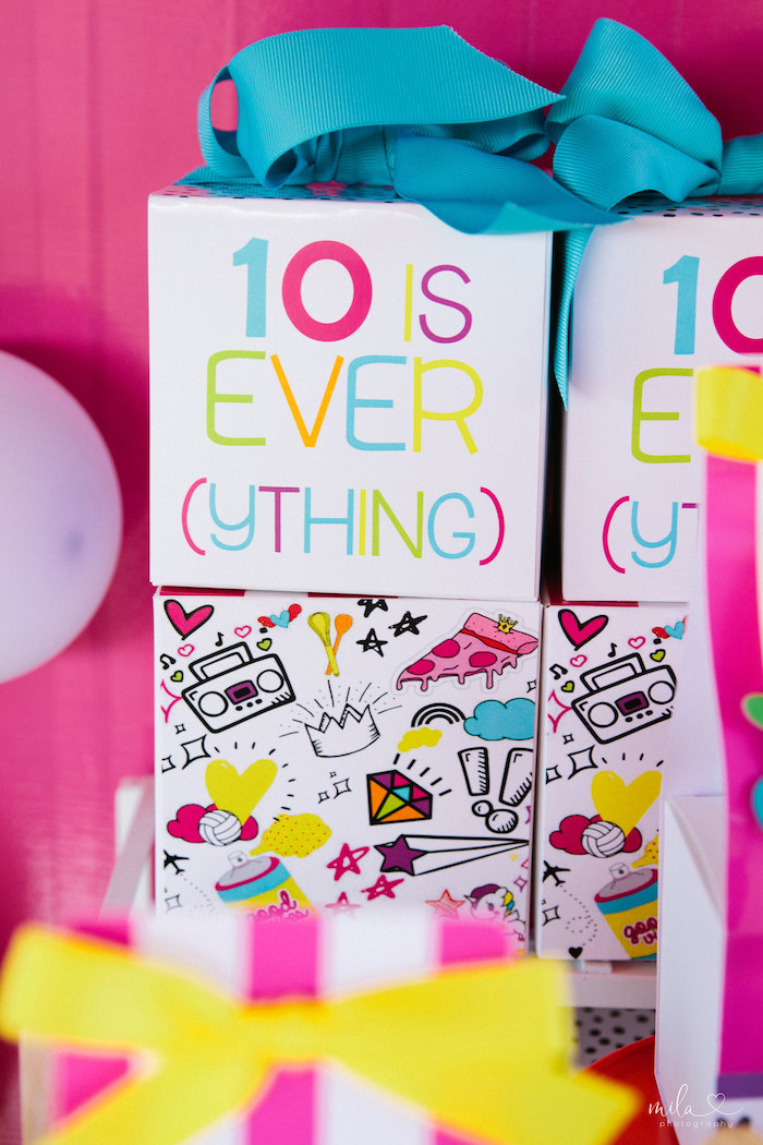 Favor Boxes from a Modern Colorful 10th Birthday Party on Kara's Party Ideas | KarasPartyIdeas.com (12)