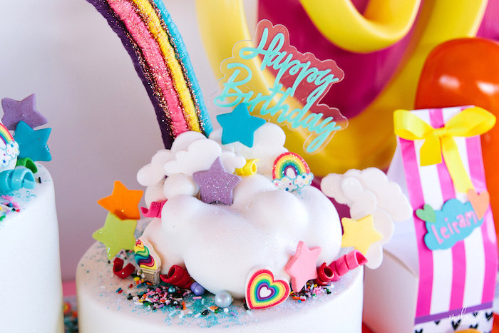 Cloud Cake Top from a Modern Colorful 10th Birthday Party on Kara's Party Ideas | KarasPartyIdeas.com (9)