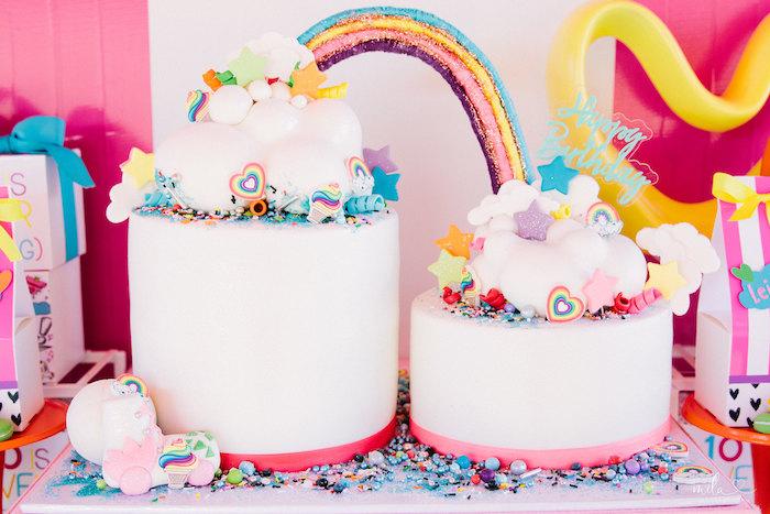 Rainbow Cloud Cakes from a Modern Colorful 10th Birthday Party on Kara's Party Ideas | KarasPartyIdeas.com (5)