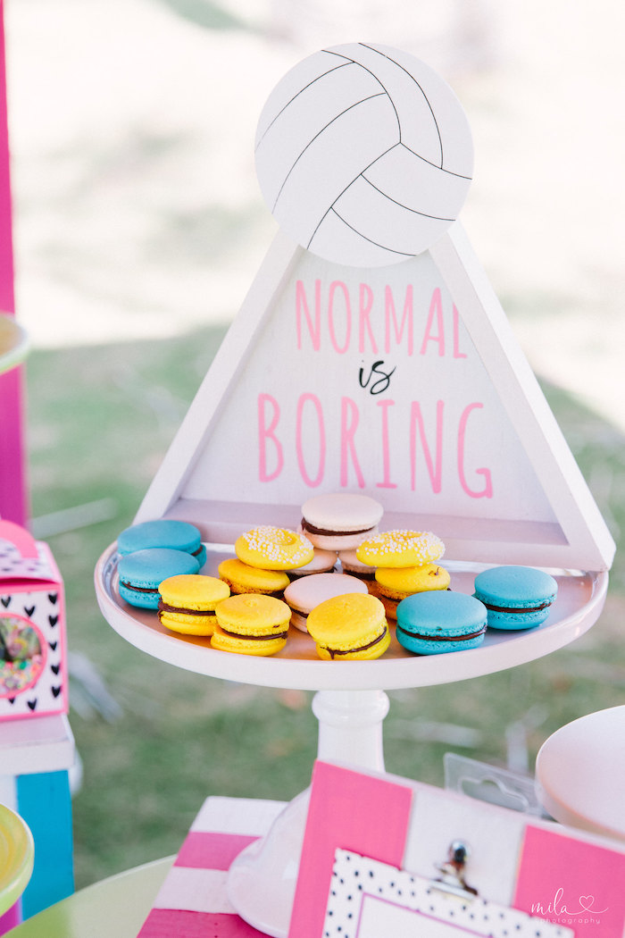 Normal is Boring Macaron-filled Dessert Pedestal from a Modern Colorful 10th Birthday Party on Kara's Party Ideas | KarasPartyIdeas.com (35)