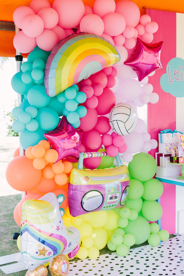 Modern and Girly Balloon Installation from a Modern Colorful 10th Birthday Party on Kara's Party Ideas | KarasPartyIdeas.com (34)
