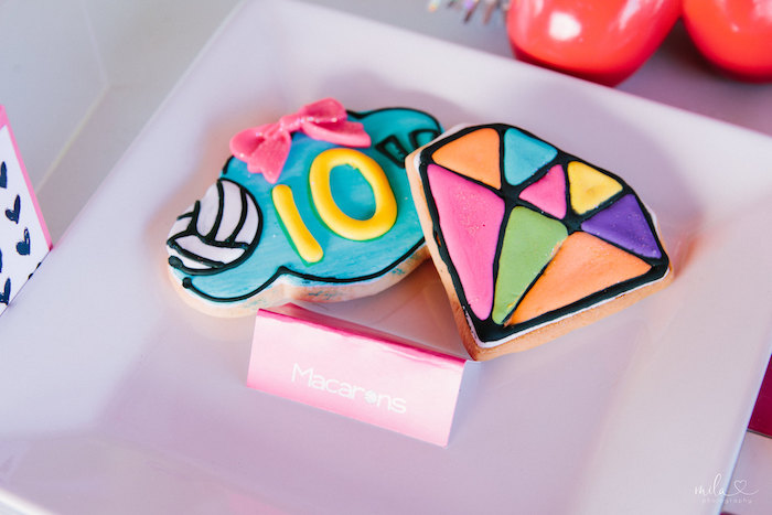 Gem Cookie from a Modern Colorful 10th Birthday Party on Kara's Party Ideas | KarasPartyIdeas.com (32)