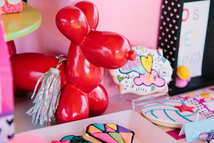 Balloon Animal Decoration from a Modern Colorful 10th Birthday Party on Kara's Party Ideas | KarasPartyIdeas.com (29)