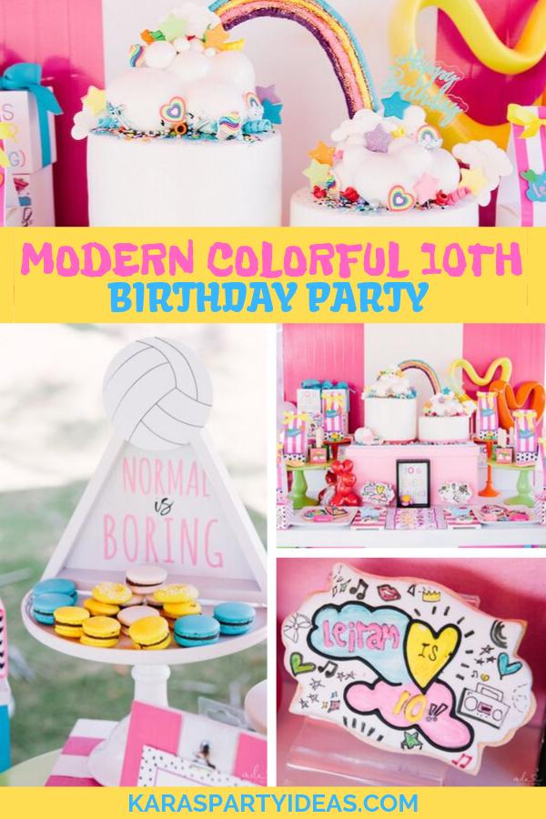 Modern Colorful 10th Birthday Party via Kara's Party Ideas - KarasPartyIdeas.com