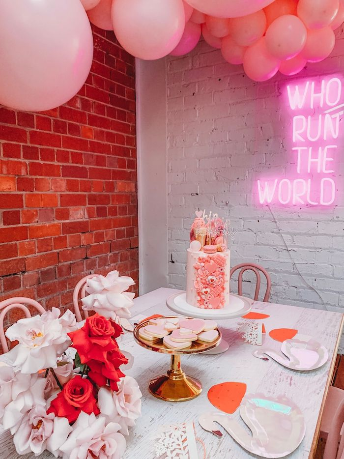 Girly Party Table from a Modern + Pink Girls Run the World Birthday Party on Kara's Party Ideas | KarasPartyIdeas.com (16)
