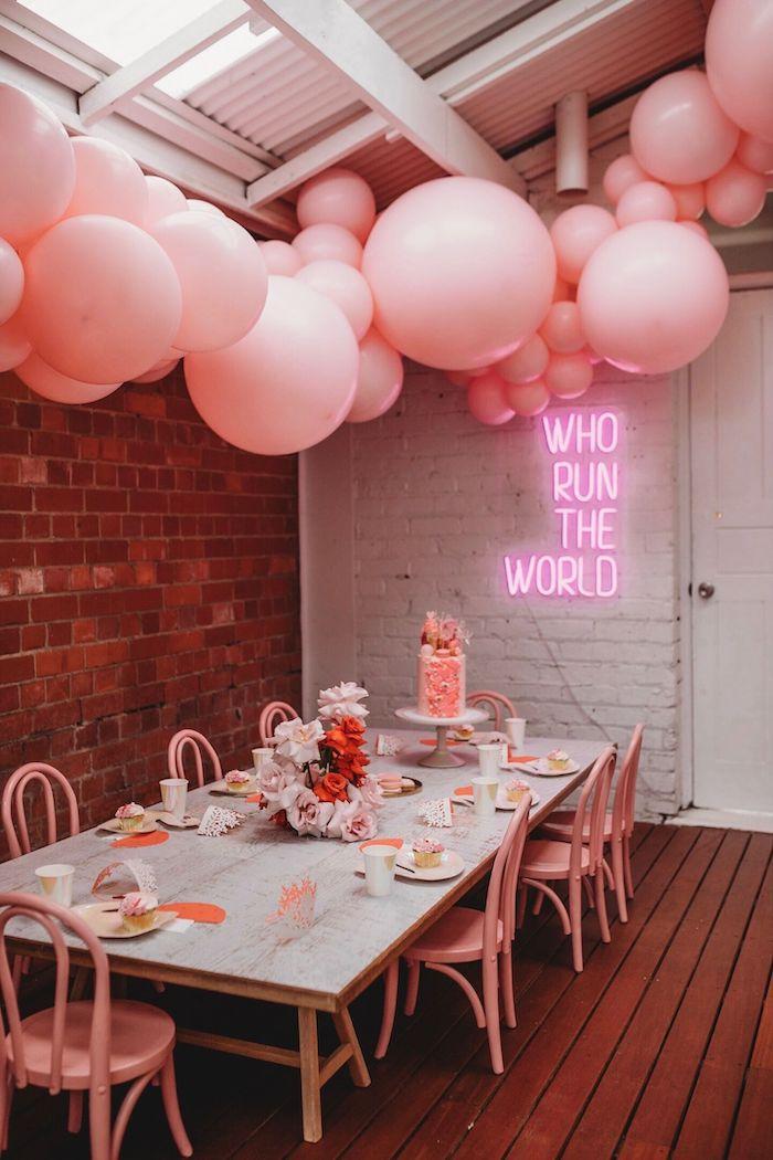 Modern + Pink Girls Run the World Birthday Party Table on Kara's Party Ideas | KarasPartyIdeas.com (15)