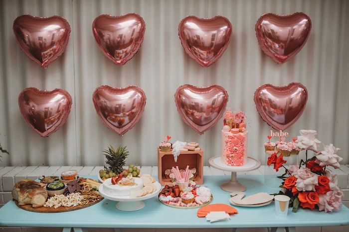 Heart-adorned Food & Dessert Table from a Modern + Pink Girls Run the World Birthday Party on Kara's Party Ideas | KarasPartyIdeas.com (28)