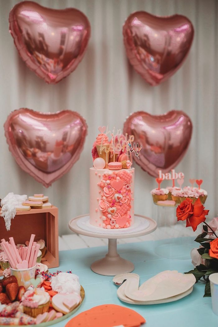 Cake Table from a Modern + Pink Girls Run the World Birthday Party on Kara's Party Ideas | KarasPartyIdeas.com (7)