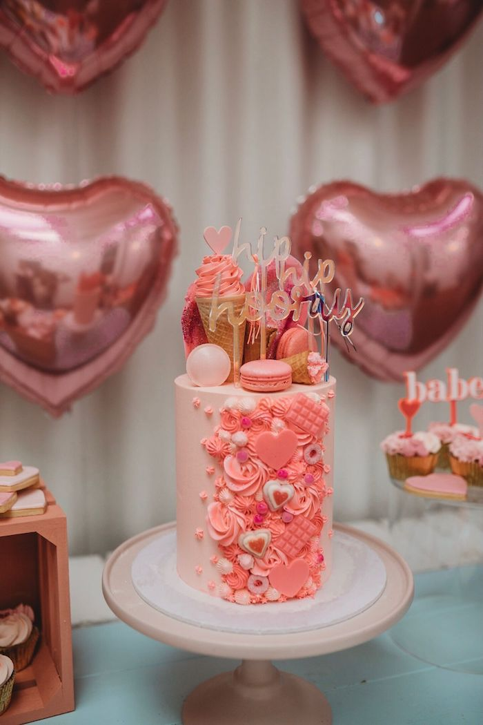 Girly Glam Birthday Cake from a Modern + Pink Girls Run the World Birthday Party on Kara's Party Ideas | KarasPartyIdeas.com (27)