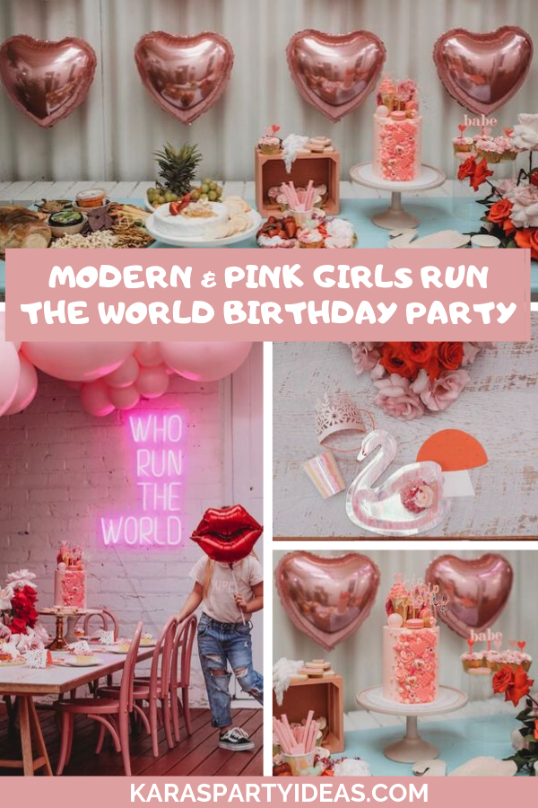 Modern + Pink Girls Run the World Birthday Party via Kara's Party Ideas - KarasPartyIdeas.com
