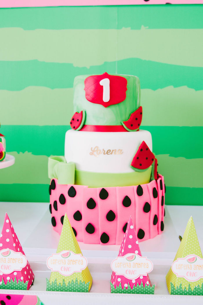 Watermelon-inspired Birthday Cake from a ONE in a MELON Modern Watermelon Birthday Party on Kara's Party Ideas | KarasPartyIdeas.com (22)