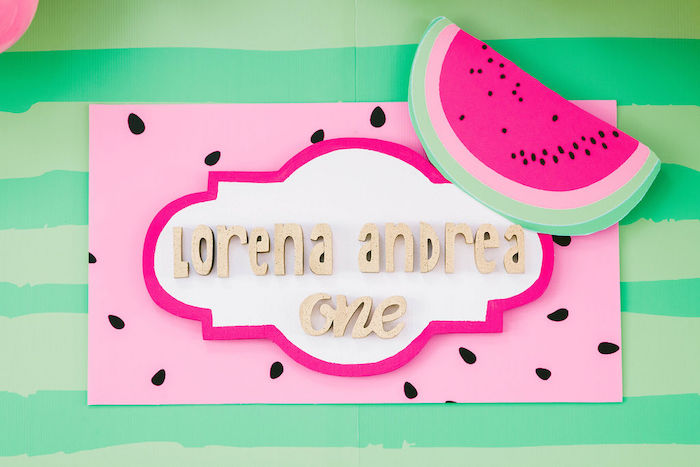 Watermelon-inspired Sign from a ONE in a MELON Modern Watermelon Birthday Party on Kara's Party Ideas | KarasPartyIdeas.com (21)