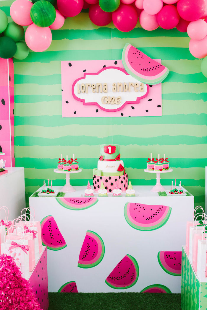 Watermelon Themed Dessert Table from a ONE in a MELON Modern Watermelon Birthday Party on Kara's Party Ideas | KarasPartyIdeas.com (20)