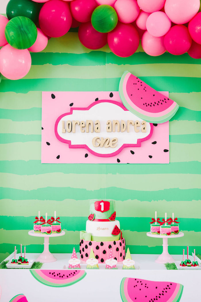 Pleasing Karas Party Ideas One In A Melon Modern Watermelon Birthday Party Funny Birthday Cards Online Inifofree Goldxyz
