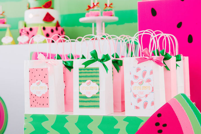 Watermelon Themed Gift Bags from a ONE in a MELON Modern Watermelon Birthday Party on Kara's Party Ideas | KarasPartyIdeas.com (18)