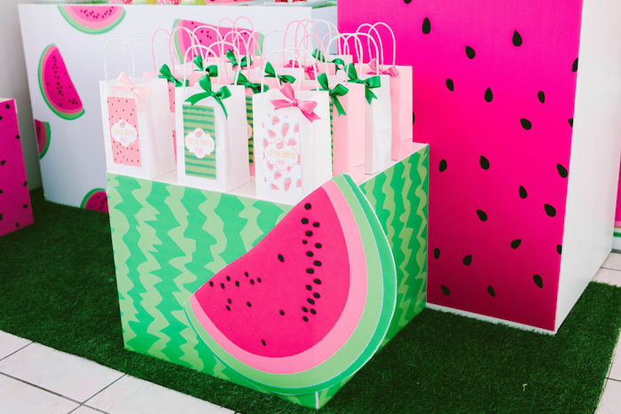 Watermelon Table from a ONE in a MELON Modern Watermelon Birthday Party on Kara's Party Ideas | KarasPartyIdeas.com (17)