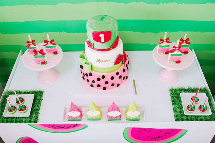 Watermelon Themed Dessert Table from a ONE in a MELON Modern Watermelon Birthday Party on Kara's Party Ideas | KarasPartyIdeas.com (15)