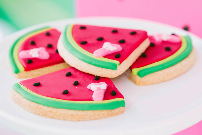 Watermelon Slice Cookies from a ONE in a MELON Modern Watermelon Birthday Party on Kara's Party Ideas | KarasPartyIdeas.com (13)