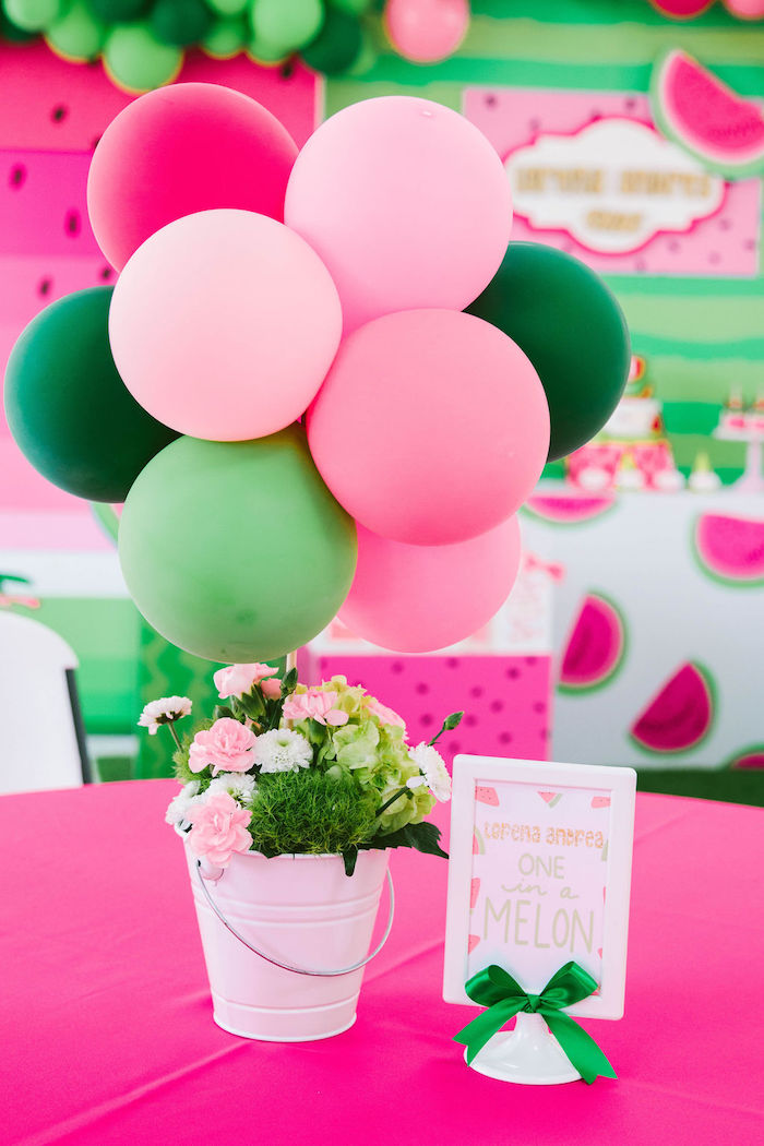 Watermelon-inspired Floral Balloon Table Centerpiece from a ONE in a MELON Modern Watermelon Birthday Party on Kara's Party Ideas | KarasPartyIdeas.com (12)