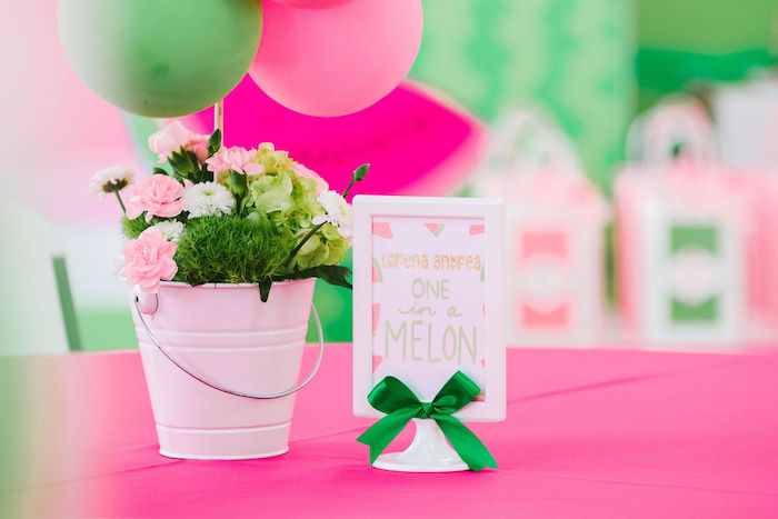 Watermelon-inspired Floral Balloon Table Centerpiece from a ONE in a MELON Modern Watermelon Birthday Party on Kara's Party Ideas | KarasPartyIdeas.com (11)