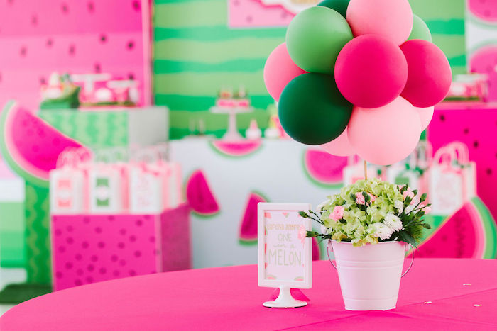 Watermelon-inspired Guest Table from a ONE in a MELON Modern Watermelon Birthday Party on Kara's Party Ideas | KarasPartyIdeas.com (10)