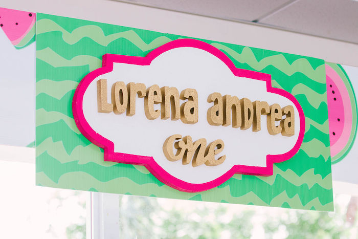 Watermelon-inspired Sign from a ONE in a MELON Modern Watermelon Birthday Party on Kara's Party Ideas | KarasPartyIdeas.com (9)