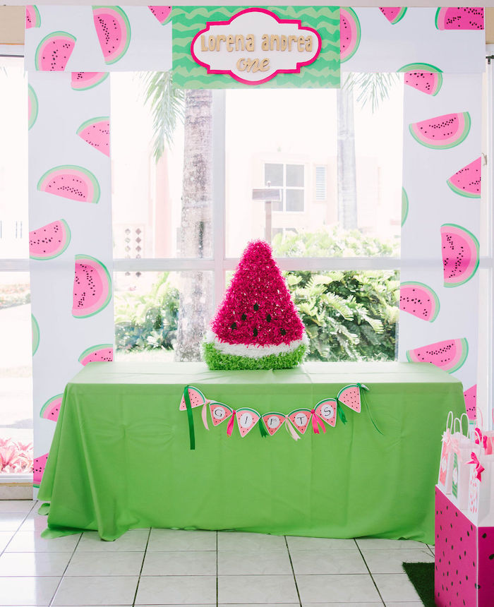 Watermelon Themed Gift Table from a ONE in a MELON Modern Watermelon Birthday Party on Kara's Party Ideas | KarasPartyIdeas.com (7)
