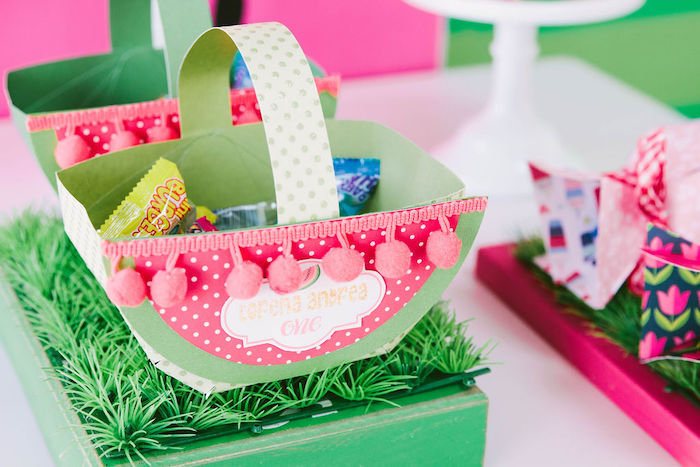 Watermelon-inspired Treat Basket from a ONE in a MELON Modern Watermelon Birthday Party on Kara's Party Ideas | KarasPartyIdeas.com (31)