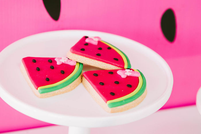 Watermelon Slice Cookies from a ONE in a MELON Modern Watermelon Birthday Party on Kara's Party Ideas | KarasPartyIdeas.com (29)