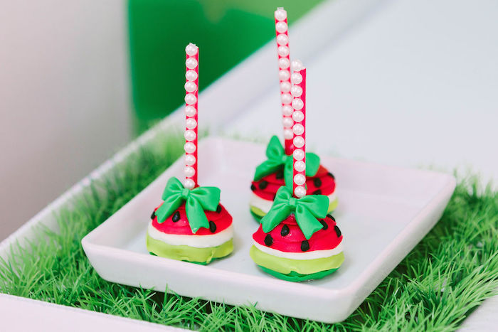 Watermelon Cake Pops from a ONE in a MELON Modern Watermelon Birthday Party on Kara's Party Ideas | KarasPartyIdeas.com (28)