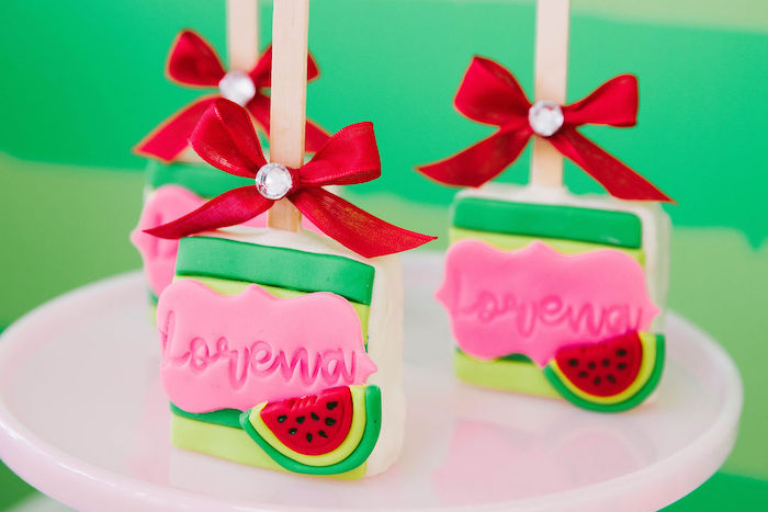 Watermelon-inspired Treats from a ONE in a MELON Modern Watermelon Birthday Party on Kara's Party Ideas | KarasPartyIdeas.com (26)
