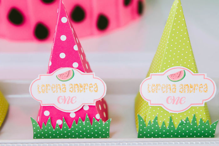 Watermelon-inspired Favor Cones from a ONE in a MELON Modern Watermelon Birthday Party on Kara's Party Ideas | KarasPartyIdeas.com (24)