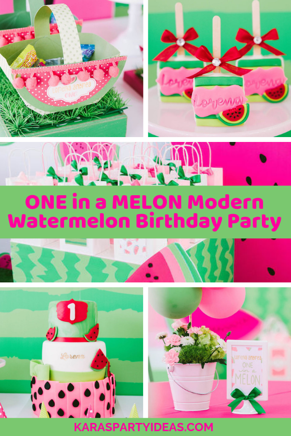 Terrific Karas Party Ideas One In A Melon Modern Watermelon Birthday Party Funny Birthday Cards Online Inifofree Goldxyz