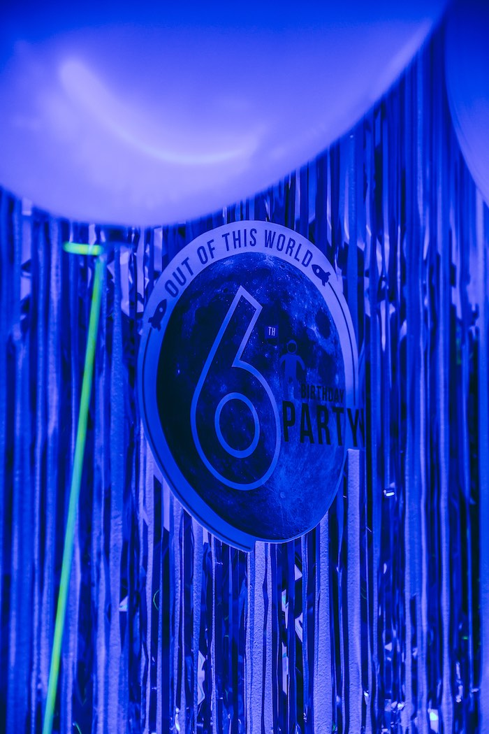 Backdrop Signage from an Outer Space Glow-in-the-Dark Birthday Party on Kara's Party Ideas | KarasPartyIdeas.com (18)