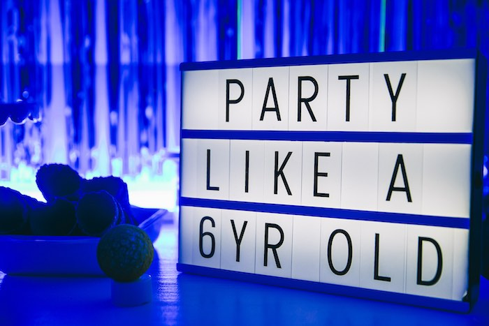Lightbox Sign from an Outer Space Glow-in-the-Dark Birthday Party on Kara's Party Ideas | KarasPartyIdeas.com (17)
