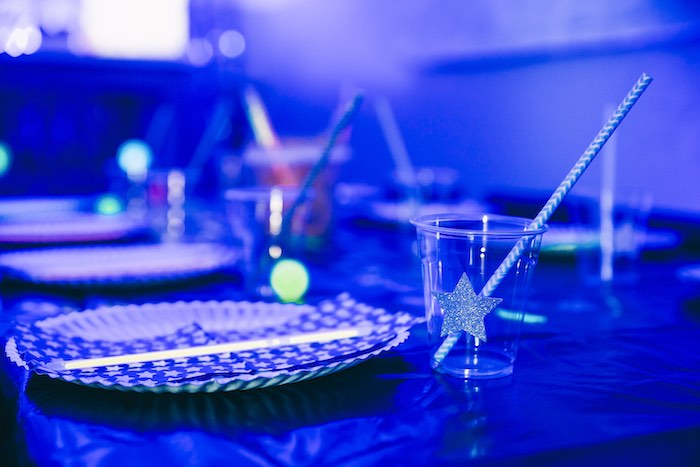 Space Themed Table Setting from an Outer Space Glow-in-the-Dark Birthday Party on Kara's Party Ideas | KarasPartyIdeas.com (9)