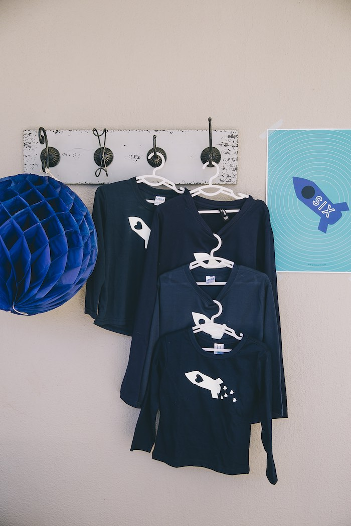 Space Shirts + Decor from an Outer Space Glow-in-the-Dark Birthday Party on Kara's Party Ideas | KarasPartyIdeas.com (6)
