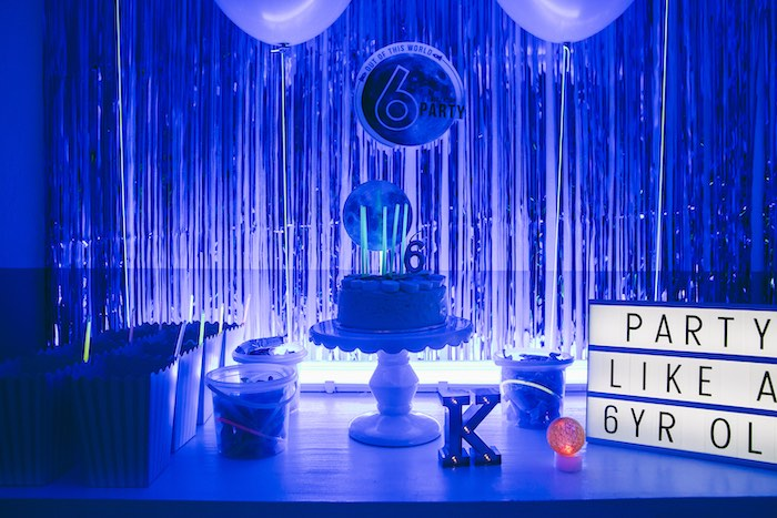Glow in the Dark Space Themed Dessert Table from an Outer Space Glow-in-the-Dark Birthday Party on Kara's Party Ideas | KarasPartyIdeas.com (28)