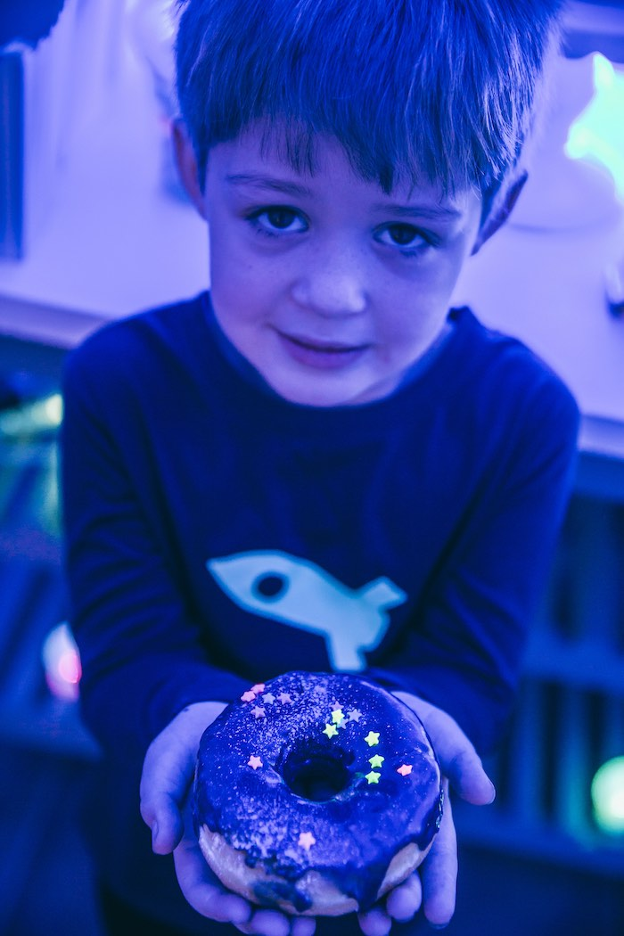 Sprinkled Space Themed Donut from an Outer Space Glow-in-the-Dark Birthday Party on Kara's Party Ideas | KarasPartyIdeas.com (27)