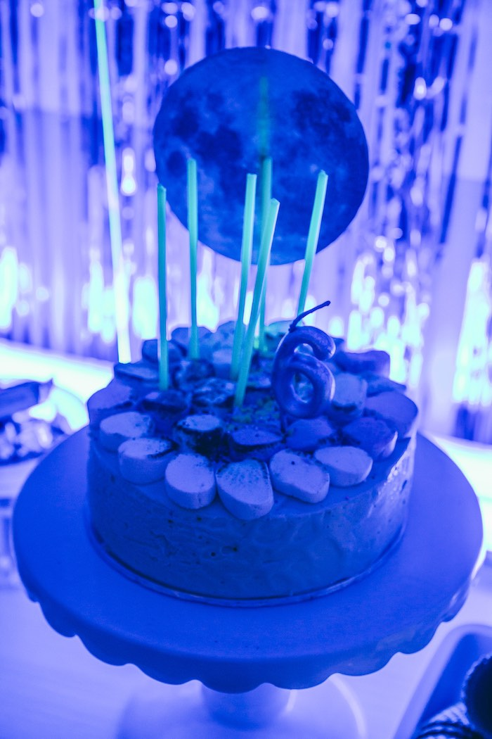 Glow in The Dark Space Cake from an Outer Space Glow-in-the-Dark Birthday Party on Kara's Party Ideas | KarasPartyIdeas.com (25)
