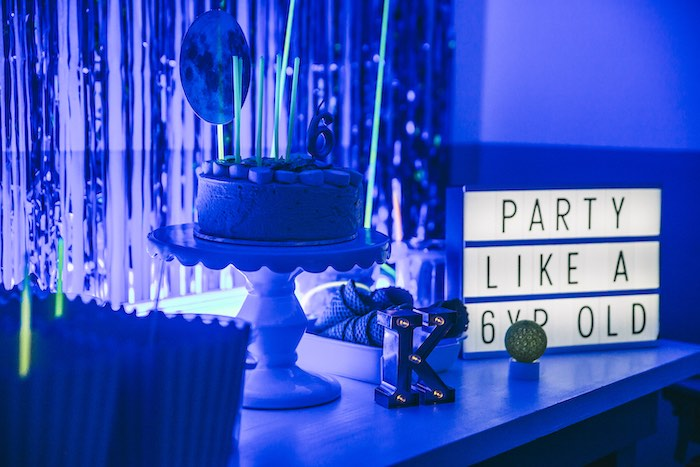 Cake Table from an Outer Space Glow-in-the-Dark Birthday Party on Kara's Party Ideas | KarasPartyIdeas.com (24)