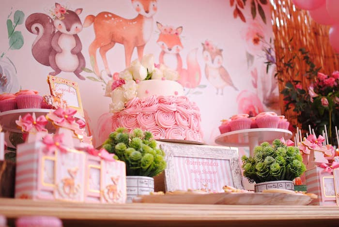 Girly Woodland Cake Table from a Pastel Woodland Baby Shower on Kara's Party Ideas | KarasPartyIdeas.com (23)