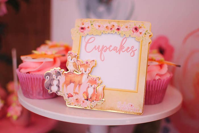 Woodland Animal Cupcake Signage from a Pastel Woodland Baby Shower on Kara's Party Ideas | KarasPartyIdeas.com (22)