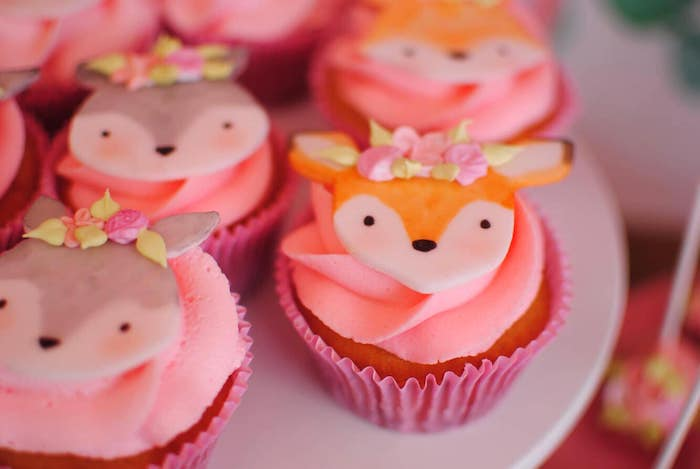 Woodland Animal Cupcakes from a Pastel Woodland Baby Shower on Kara's Party Ideas | KarasPartyIdeas.com (21)