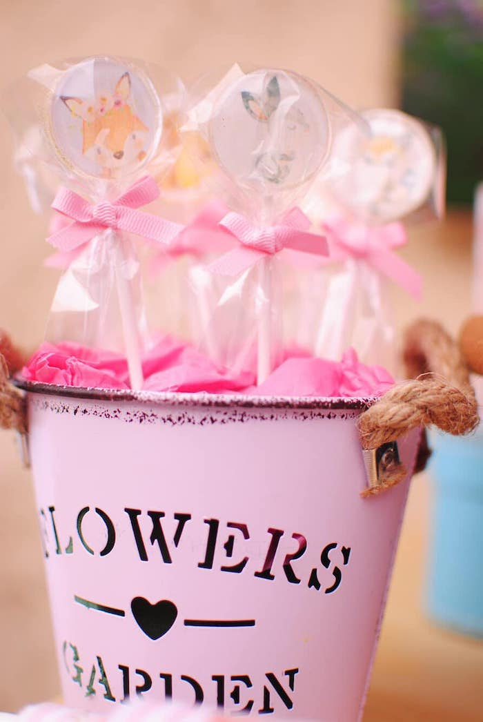 Woodland Animal Lollipops from a Pastel Woodland Baby Shower on Kara's Party Ideas | KarasPartyIdeas.com (20)