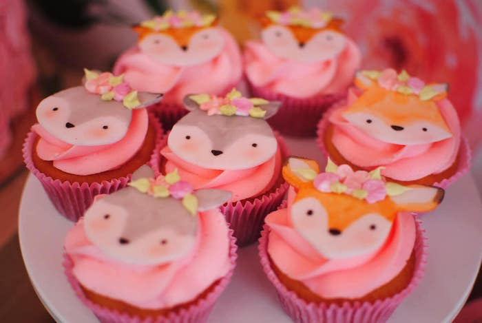 Woodland Animal Cupcakes from a Pastel Woodland Baby Shower on Kara's Party Ideas | KarasPartyIdeas.com (19)