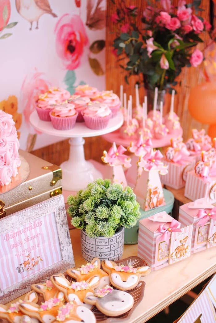 Pink Woodland Themed Dessert Table Detail from a Pastel Woodland Baby Shower on Kara's Party Ideas | KarasPartyIdeas.com (18)