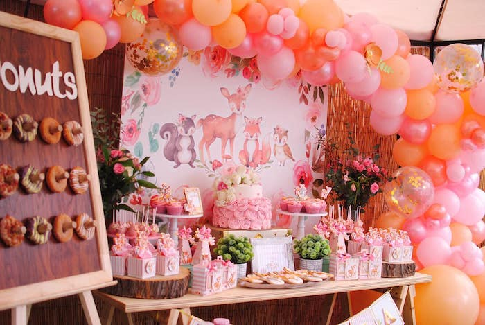 Pink Woodland Dessert Table from a Pastel Woodland Baby Shower on Kara's Party Ideas | KarasPartyIdeas.com (17)